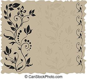 floral, backgroun, begroetende kaart