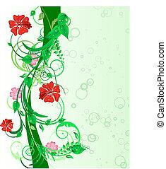 floral background - Green floral vector background for...