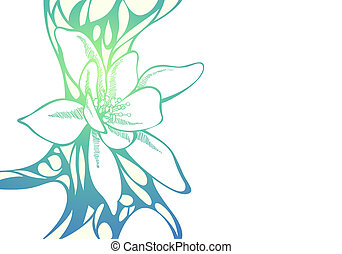 Floral background - Color illustration of flowers on white...