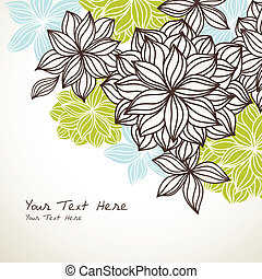 Floral Background Corner Green Blue - Hand-drawn floral...