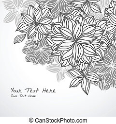 Hand-drawn floral background design in black and white. Elements are grouped for easy editing. Text is expanded and does not require fonts.