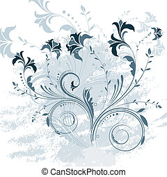 Floral background - Decorative floral design with grunge...