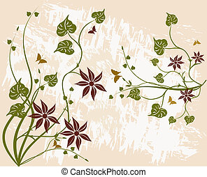 Floral Background - Grunge Floral background - illustration