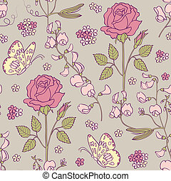 Floral background - Vector illustration of seamless pattern...