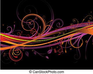 floral background - Vector illustration of black background...