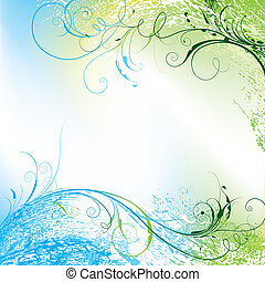Floral Background - Floral Tendriled Wavy Background, ...