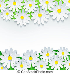 Floral background, frame with 3d flower chamomile