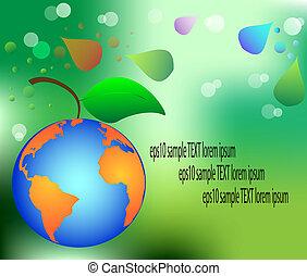 floral background green apple fruit