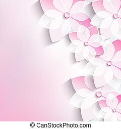 Floral background, greeting card, 3d flowers sakura