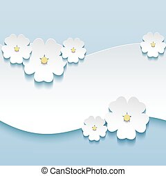 Floral background, greeting card with 3d flowers sakura
