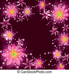 Floral background, greeting card with flowers