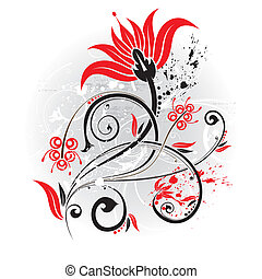 Floral background - Grunge floral background with blot, ...