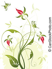 Floral background - Grunge floral background with butterfly...