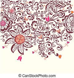 Floral background hand drawn design in pink