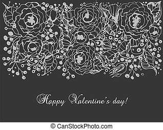 Hand - drawn roses on black background with space for text, Floral card