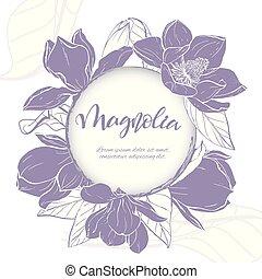 Sketch linear magnolia blossom.