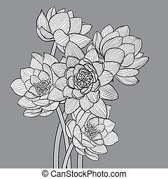 Floral background illustration on dark background