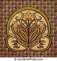 Floral background in art nouveau style, vector illustration