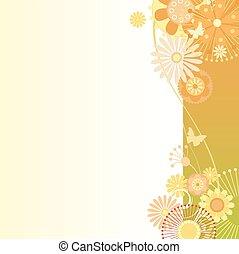 Floral background in greenish-orange - Vector illustration...