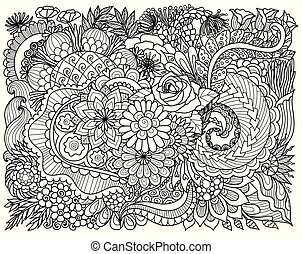 Line art design of intricate florals for background and coloring book page for adult. Vector illustration