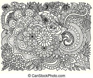floral background - Line art design of intricate florals for...