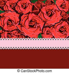 Floral background of red rose with pink ribbon. Floral copy-space