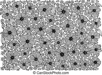 Floral background pattern - coloring page with flowers