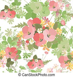 Floral background poppy and cosmos strawberries vector...