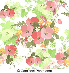 Floral background poppy and cosmos strawberries vector illustration