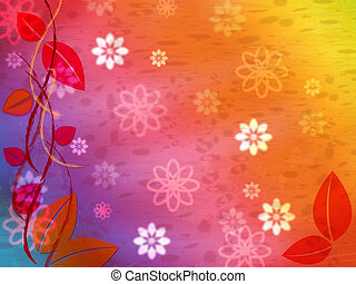 Floral Background Represents Multicolored Color And Colourful