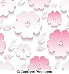Floral background seamless pattern, pink 3d sakura blossom -...