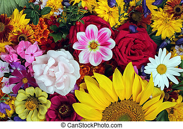 Floral background, top view.