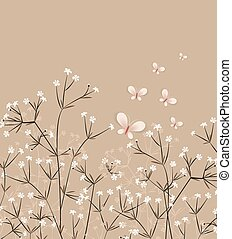 Floral Background - Vector floral background with flying...