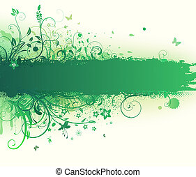 floral background - Vector illustration of funky Grunge...