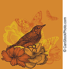 Floral background with a bird blackbird, blooming roses and butterflies. Vector illustration.
