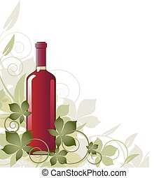Floral background with a bottle of