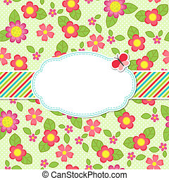 Floral background with a frame