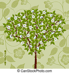 Floral background with a tree