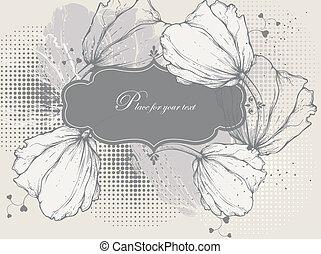 Floral background with a vintage fr