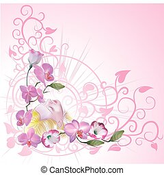 floral background with a woman daydreaming