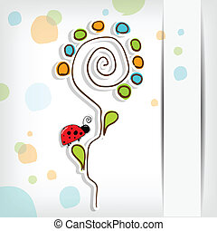 Floral background with abstract flower