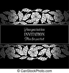 Floral background with antique, luxury black, metal silver vintage frame, victorian banner,damask floral wallpaper ornaments, invitation card, baroque style booklet, fashion pattern, template