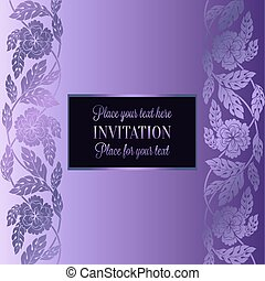 Floral background with antique, luxury lilac, violet flower vintage frame, victorian banner, damask floral wallpaper ornaments, invitation card, baroque style booklet, fashion pattern, template