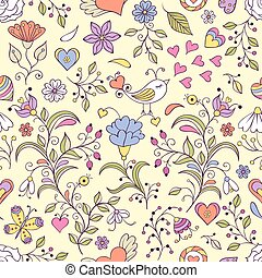 Floral background with bird and flowers