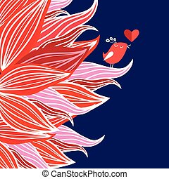 Floral background with bird in love