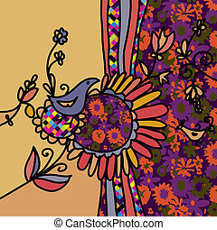 Floral background with birds and pattern - decorative design