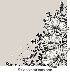 Floral background with blooming flowers