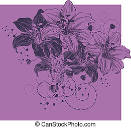 Floral background with blooming lil