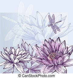 Floral background with blooming water lilies and dragonflies flying, hand-drawing.
