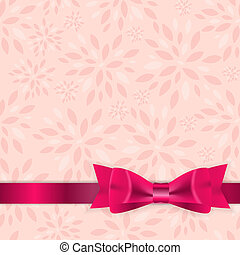 Floral Background with Bow and Ribbon Vector Illustration